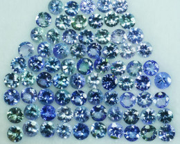 Multi Colour 20.20Ct Natural Green Blue Tanzanite Round 4mm Parcel