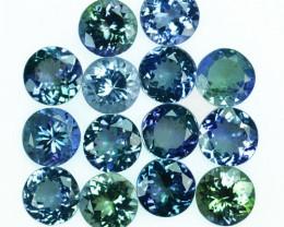 Wonderful 13.87Ct Natural Green Blue Tanzanite Round 6.50mm Parcel