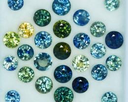 13.66Ct Natural Australian Blue Green Sapphire Round Parcel