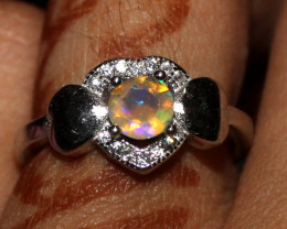 Natural  Ethiopian Welo Opal 925 Sterling Silver Ring Size ( 6 US) 258