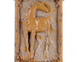 Noble Horse Carved Cameo Focal Pendant Stone in Ribbon Jasper 170.00cts