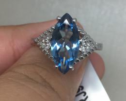 (B1)Dazzling 3.45ct Estate Genuine Santa Maria Blue Topaz Ring