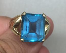 (B2) Magnificent  Nat. 6.0ct Preownwd Blue Topaz Cocktail Ring 10K YG