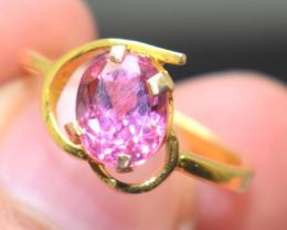 Pink Tourmaline Gemstone Gold Ring