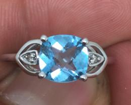 (B13) Superb $900 Nat. 1.75cts Sky Blue Topaz& Diamond Ring 14K WG