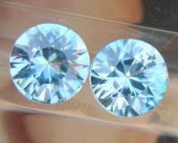 6mm Round Natural Zircon Blue Pair
