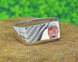 Natural Padparadscha Sapphire 925 Sterling Silver Ring Gents' (SSR0191 )