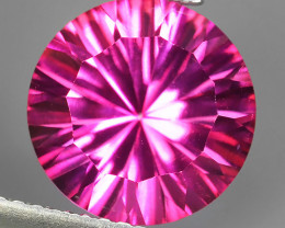 4.17 CTS SUPERIOR! TOP COLOR ROUND LASER CUT HOT PINK-COTED TOPAZ GENUINE~