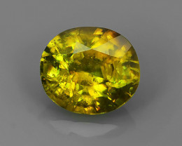 1.50~CTS OVAL CUT 100% NATURAL RARE GREENISH~YELLOW COLOR MADAGASCAR SPHENE
