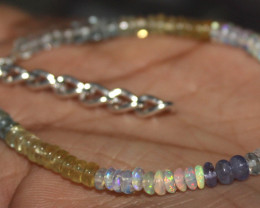 Ethiopian Opal Multi Aquamarine & Tanzanite Beads Bracelet 24