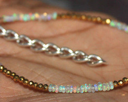 12 Crt Natural Ethiopian Opal & Golden Pyrite Beads Thin Bracelet 52