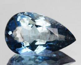 Excellent Blue 1.15Ct Natural Santa maria Aquamarine Pear Brazil