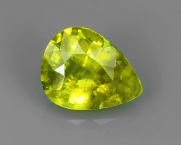1.85 CTS AMAZING RAREST! TOP FIRE NATURAL GREENISH-YELLOW COLOR SPHENE PEAR