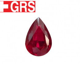 2.17 ct Pear Shape Ruby (Pigeon Blood Red) - GRS Certified
