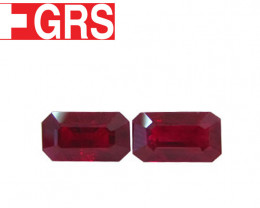 5.85 cttw Pair of Emerald Cut Rubies (Pigeon Blood Red) - GRS Certified