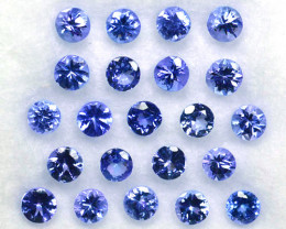 2.72 Cts Natural Purple Blue Tanzanite 3 mm Round 22 Pcs Tanzania