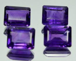 Natural Purple Amethyst 4 Pcs Octagon Cut Bolivia Gem 8.20 Cts