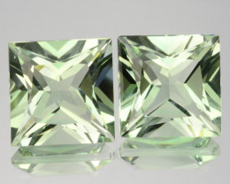 Excellent Princess cut Natural Green Amethyst(Prasiolite) Square Pair