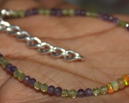 Natural Ethiopian Opal Amethyst & Peridot Beads Thin Bracelet 23