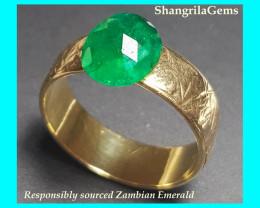 1.89ct 9.2mm irregular cut Emerald from Zambia