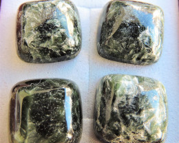 25.40ct CHATOYANT SERAPHINITE CABOCHONS FROM RUSSIA 4pcs