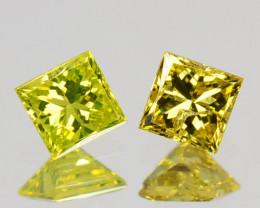 Natural Diamond Golden Yellow PAIR Princess Cut Africa 0.13 Cts