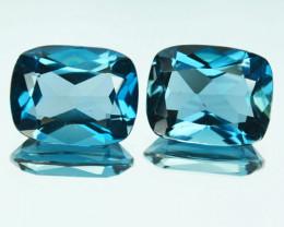 Wonderful Natural London Blue Topaz Cushion Pair 4.63Ct