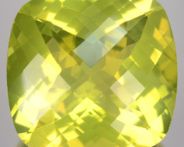 Custom Calibrated 26.48Ct Natural Lemon Green Prasiolite Cushion Checker bo
