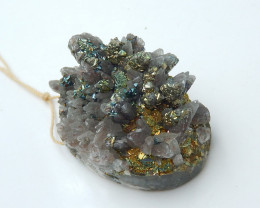 Beautiful Drusy With Pyrite ,Crystal Rare Gold Stone Cluster Specimen B908