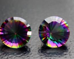 3.50 CT Natural - Coated Mystic Quartz Faceted Gemstone Pair