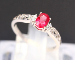 Ruby 1.32g Mozambique Red Ruby 925 Sterling Silver Ring B3104