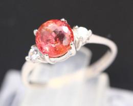Tourmaline 2.01g Natural Peach Pink Tourmaline 925 Sterling Silver Ring B31
