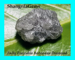 13mm 9.66ct Conflict free Natural silver grey rough diamond