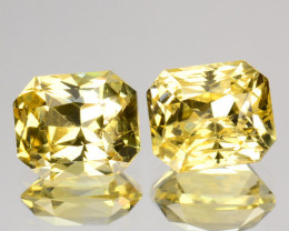 ~PAIR~ 2.86 Cts Unheated Natural Yellow Sapphire Princess Cut Ceylon - Sri