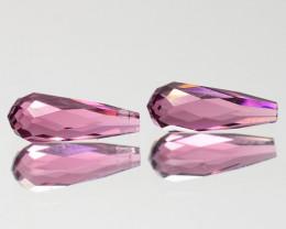 Glittering 1.25 Cts Natural Pink Tourmaline Pair Briolette Mozambique