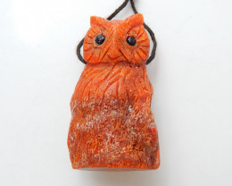 Natural Red Coral Owl Pendant ,Hand Carved Pendant ,Carved Owl Pendant B887