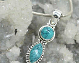 PENDANT 925 STERLING SILVER TURQUOISE  NATURAL GEMSTONE JE1657