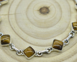 TIGER EYE NATURAL UNTREATED  BRACELET 925 STERLING SILVER JE1659