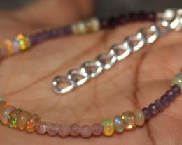 19 Crt Ethiopian Opal Garnet Sunstone Amethyst Beads Bracelet 44