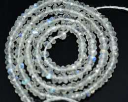 51.80Ct Natural Blue Moon Stone Rondelle Faceted Beads 33cm