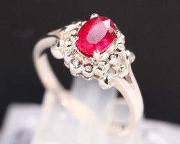 Ruby 2.54g Mozambique Red Ruby 925 Sterling Silver Ring B0302