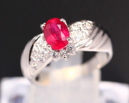 Ruby 3.49g Mozambique Red Ruby 925 Sterling Silver Ring B0309