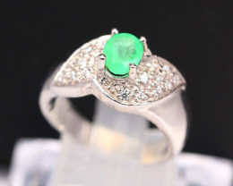 Emerald 4.25g Natural Neon Green Emerald 925 Sterling Silver Ring B0310