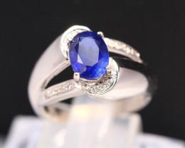 Blue Sapphire 4.33g Ceylon Blue Sapphire 925 Sterling Silver Ring B0311