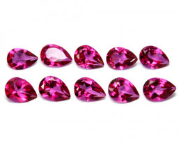Matching Raspberry Pink Natural Topaz Pear Cut 8.18 Cts