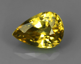 1.80 CTS STUNNING RARE NATURAL LUSTER PEAR YELLOW ZIRCON!!