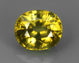 2.15 CTS STUNNING RARE NATURAL LUSTER OVAL YELLOW ZIRCON!!