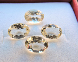 2.75ct LIGHT YELLOW FELDSPAR OVAL FACETED GEMSTONES FROM MEXICO 4pcs