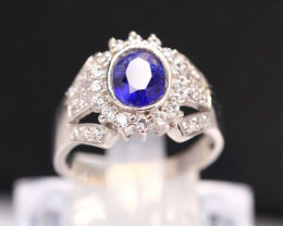 Blue Sapphire 4.30g Ceylon Blue Sapphire 925 Sterling Silver Ring B0404