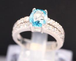 Zircon 5.43g Natural Blue Zircon 925 Sterling Silver Ring B0406